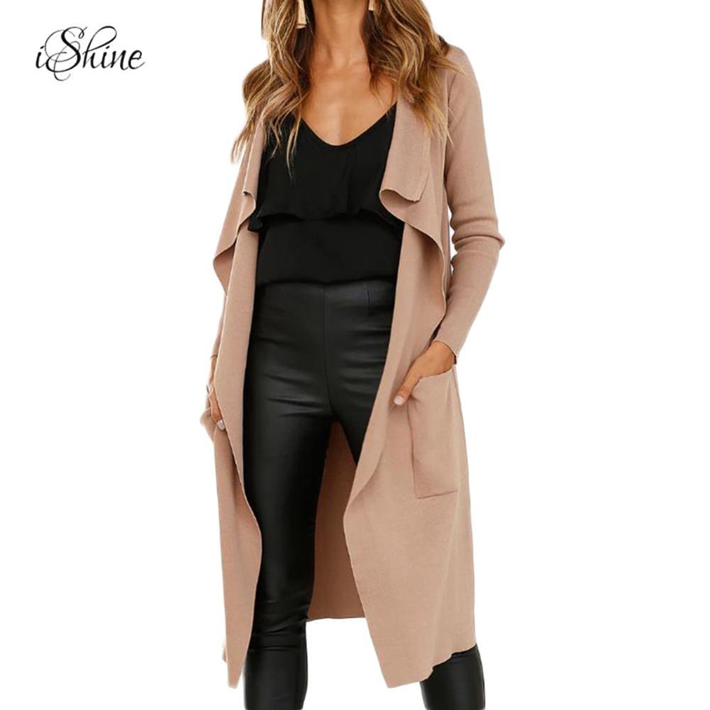 2018 Autumn Winter Faux Suede Leather Long Jackets Lapel Irregular Hem Thin Coats Zanja Basic Jacket Windbreaker With Belt