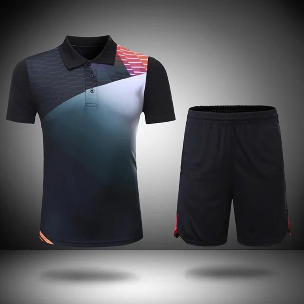 تعيين الريشة فارغة الرجال والنساء الريشة الرياضية التجفيف السريع تدريب التنس بدلة بأكمام قصيرة الريشة جيرسي والسروال