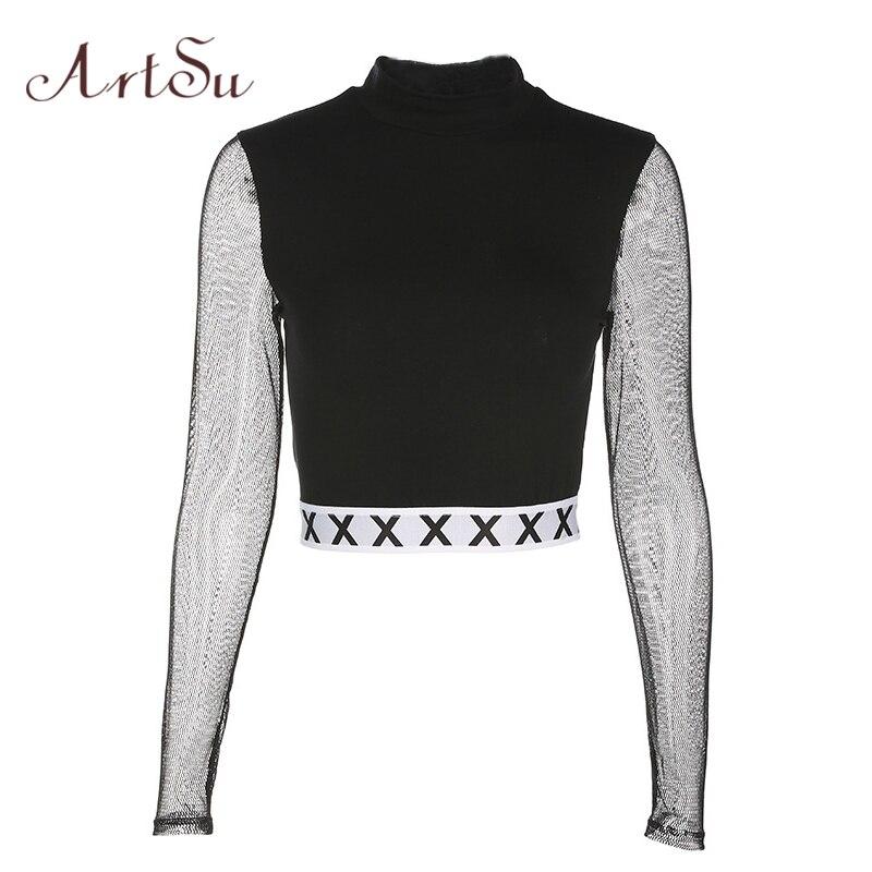 ArtSu Mode Herbst Mesh Top Langarm Crop Tops Rollkragen Punk Kpop T hemd Frauen Sexy Schwarze Kurze T-shirt ASTS20216
