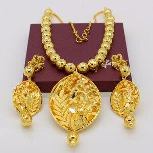 Image 3 - Adixyn Vintage collier/boucles doreilles parure de bijoux pour femmes couleur or/cuivre éthiopien arabe inde cadeaux de fête