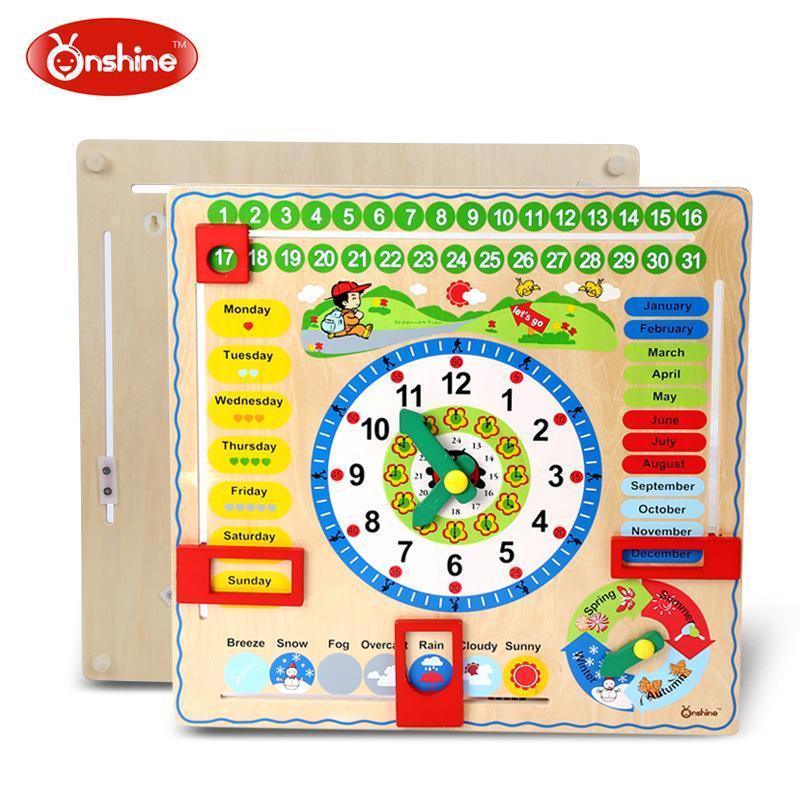 Onshine marque enfants grande taille en bois assembler des puzzles d'horloge/enfants apprenant l'heure date numéros mathématiques jouets éducatifs, livraison gratuite