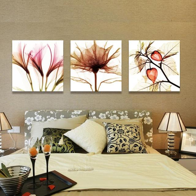 3 Piece Wall Art Flower Abstract Paintings Canvas Flowers Pictures For Living Room
