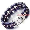 "Wholesale Top Quanlity 16mm Men's Motor Bike Purple Blue Chain Motorcycle Chain Bracelet Bangle 316L Stainless Steel 9"" Jewelry"