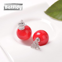925 Silver Lovely Style Red Ball Asymmetric Earrings Female Christmas Snowman Crutches Tree Insert Drill Delicate