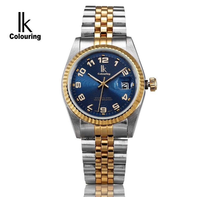 Luxury IK Coloring Luxury Mens Day Quartz Watches Waterproof Wristwatch Original Box Free Ship