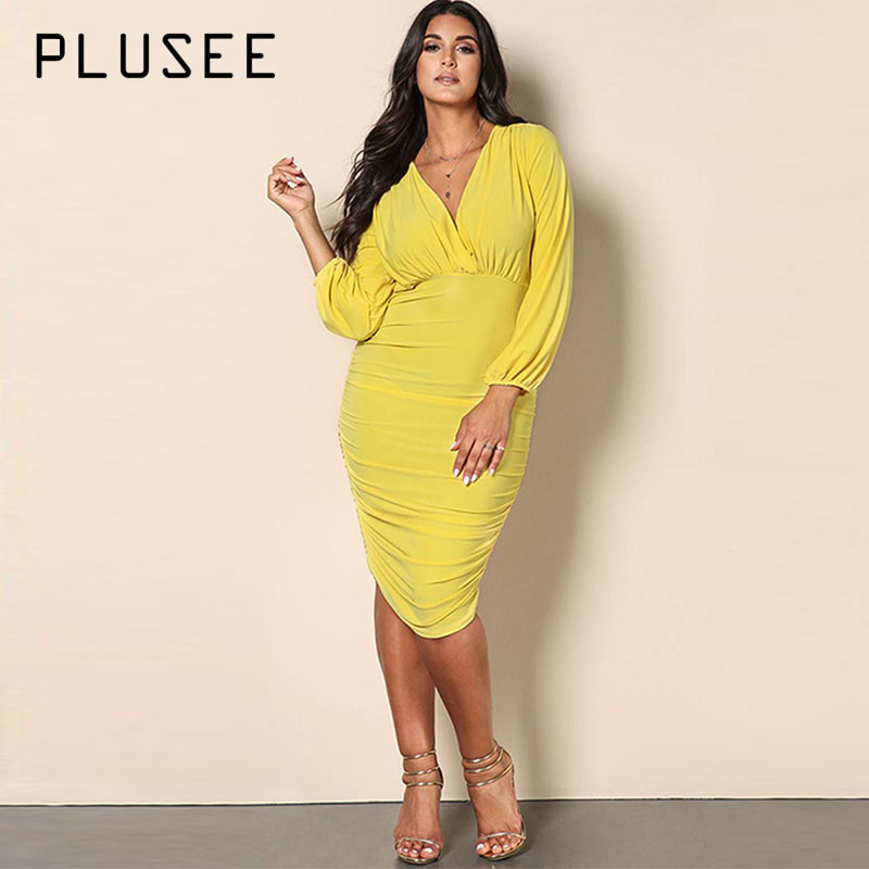 Plusee Dress Plus Size 3XL Women 2017 Bodycon Solid Pleated Pullover Knitted Fabrics High-Waist Plain Plus Size Women Dress plus size pleated beaded fitted dress