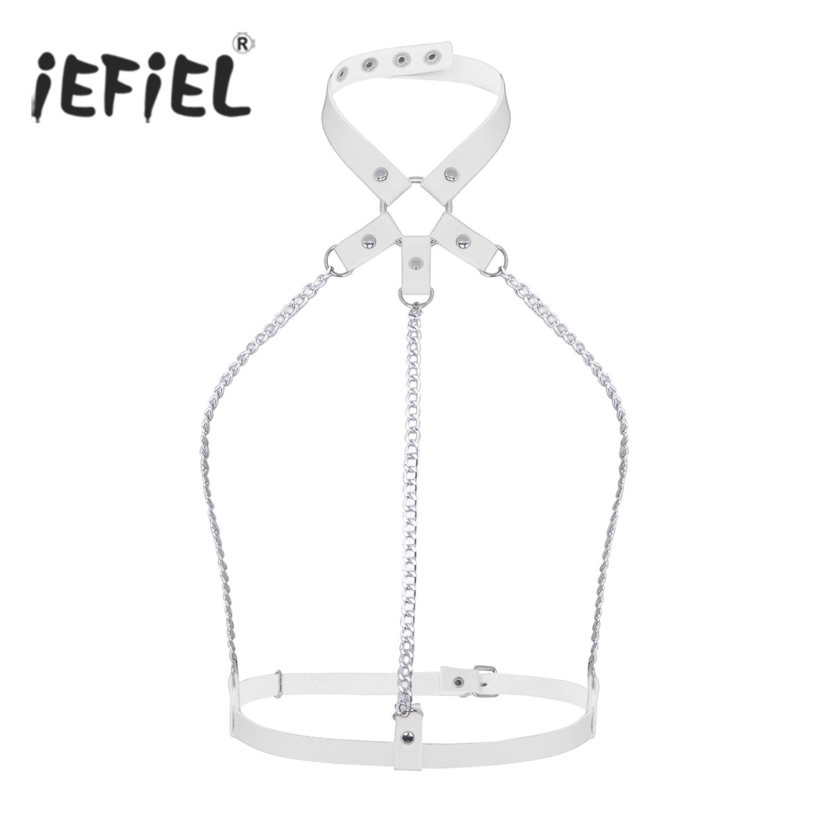 Women Punk Fashion Cosplay Evening Party Belts Halter Neck Adjustable Body Half Harness Belt with Festival   Metal Chain Tassels