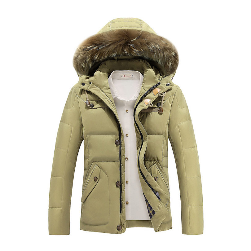 Generic Mens Thicken Embroidered Padded Mid Long Length Hoodies Outwear Down Jacket Coat