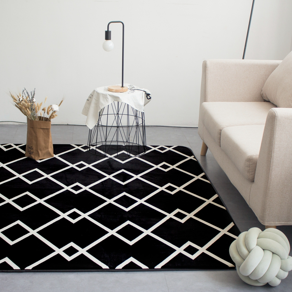 Black And White Stripes Rectangle Mat Soft Crawling Rugs
