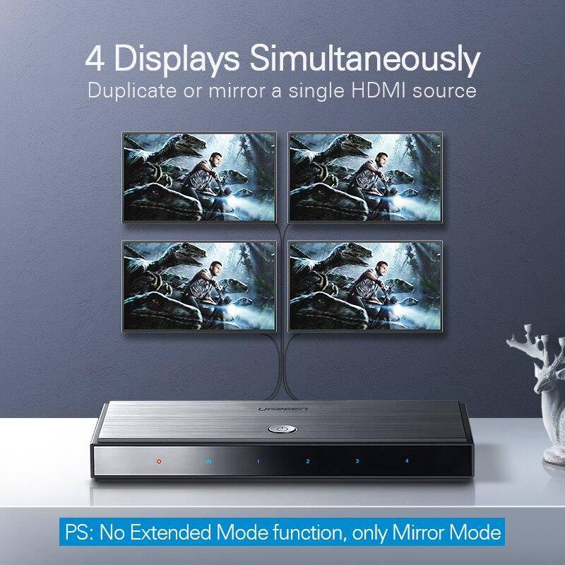 Ugreen HDMI 2.0 Splitter UHD 4K//60Hz HDR 1x4//1x2 HDMI Adapter for PS4 PS3 TV Box