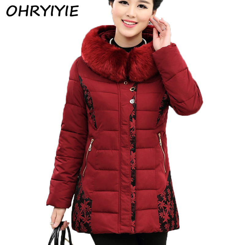 2016 Elderly Women S Mother Winter New European Style Simple Wild Slim Solid Color Hooded Fashion