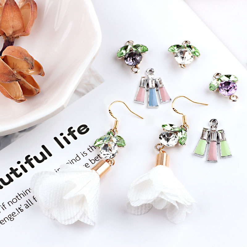 Diy accessories alloy rhinestones good morning flower white k bottom pendant earrings material