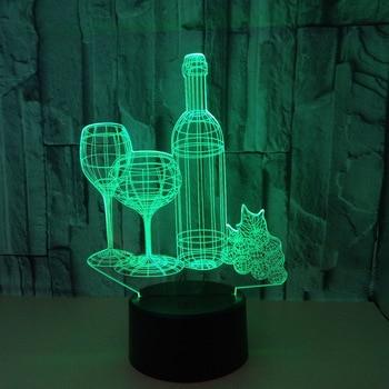 สีสัน 3d และขวดไวน์ 3d Nightlight Touch รีโมทคอนโทรล Home ของขวัญ 3d Led Night Light น่ารักการ์ตูนเด็กของเล่น