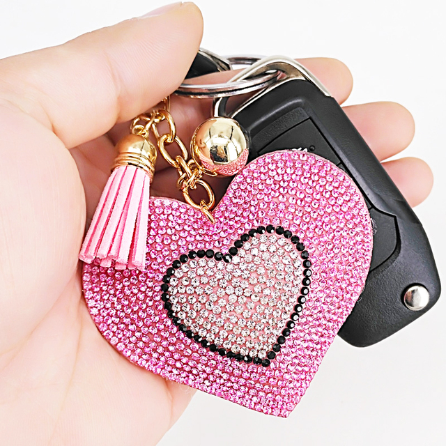 New Lovely 6Colors Double Hearts Keychain Tassel Pendants Fashion Gifts Key Chains Personalized Handbag Decorative Supplies 2