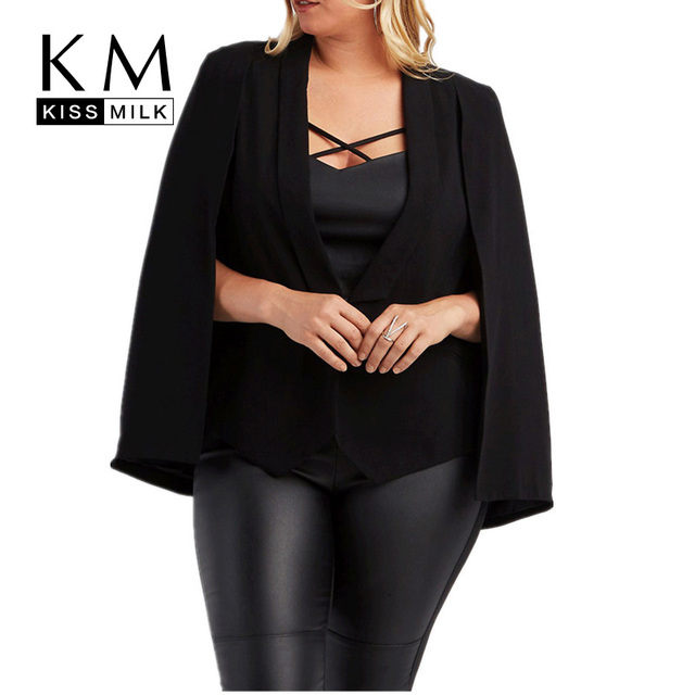 Kissmilk Plus Size Women Autumn Poncho Coat Office Lady Elegant Turn-down Collar Cape Coat Black Brief Deep V-neck Jacket