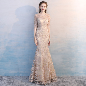 Simple Champagne Scoop Neck Floral Lace Vestidos De Festa Half Sleeve Pleated Mermaid Long Bridesmaid Dresses Wedding Party Gown