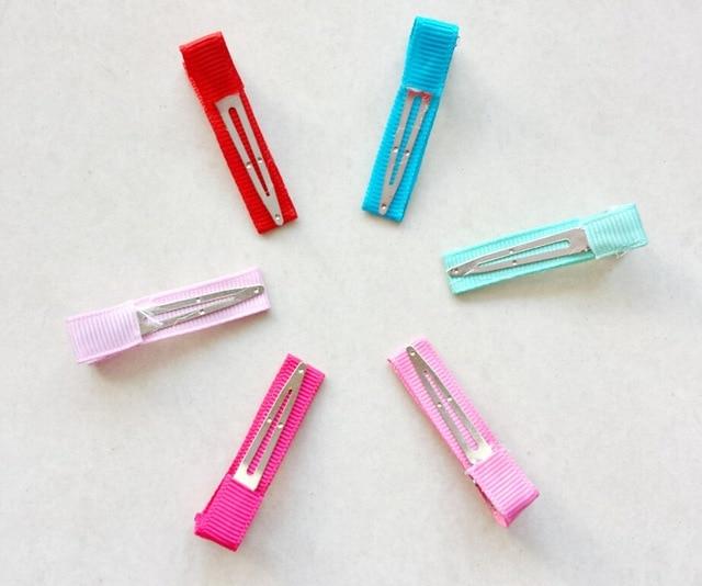 "240pcs Hair clip accessories 1.8"" Ribbon Lined cover Alligator clips Single Prong hairpins girls Hair bow flower headwear FJ3206"
