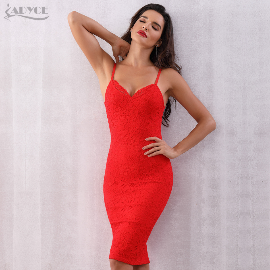 0dd9ee53f00 Adyce 2018 New Summer Women Bandage Dress Vestido Runway Celebrity Party  Dress Sexy Spaghetti Strap Bodycon Midi Lace Club Dress