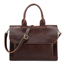 14 Inch High Quality Men Handbags Vintage Leather Briefcase Leather Laptop Bag Bolsa Masculina Office Bags for Man