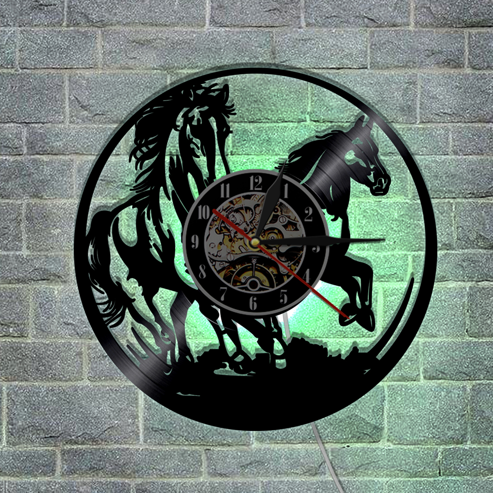 1Piece Horses LED Lighting Animals Vinyl Record Wall Clock Horse Laser Etched Remote Controller Modern Clock