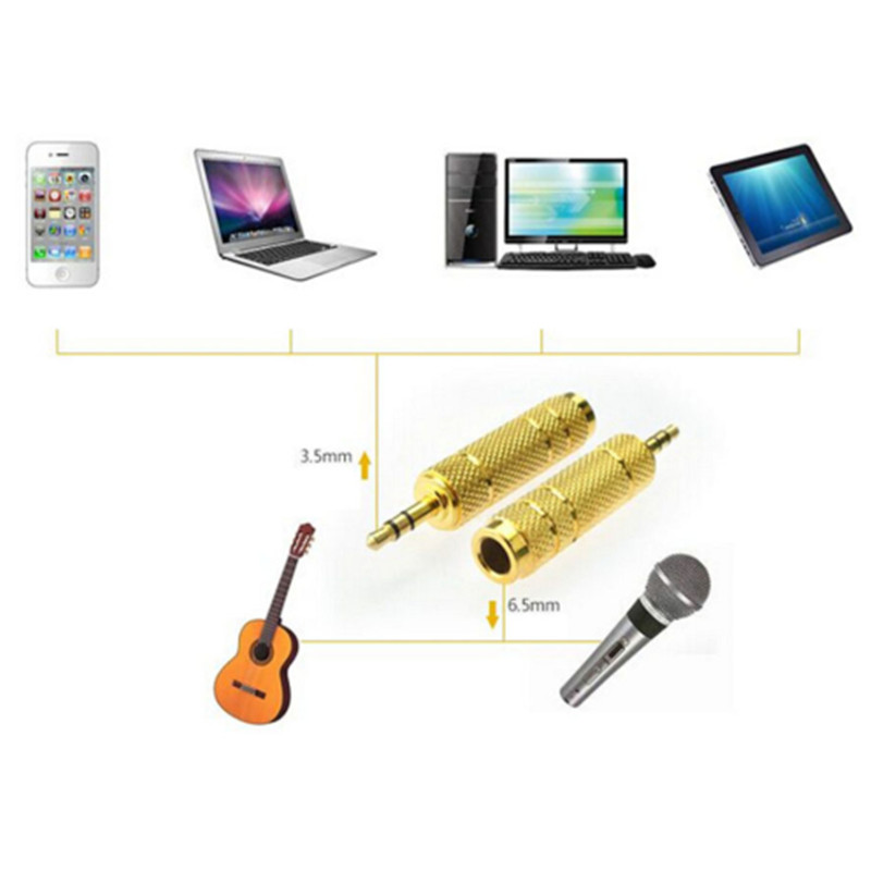 3.5 mm to 6.35 mm Gold Headphone Jack Plug Audio Adapter Audio Conversion Head Microphone Amplifier Headset Adapter 2019 New
