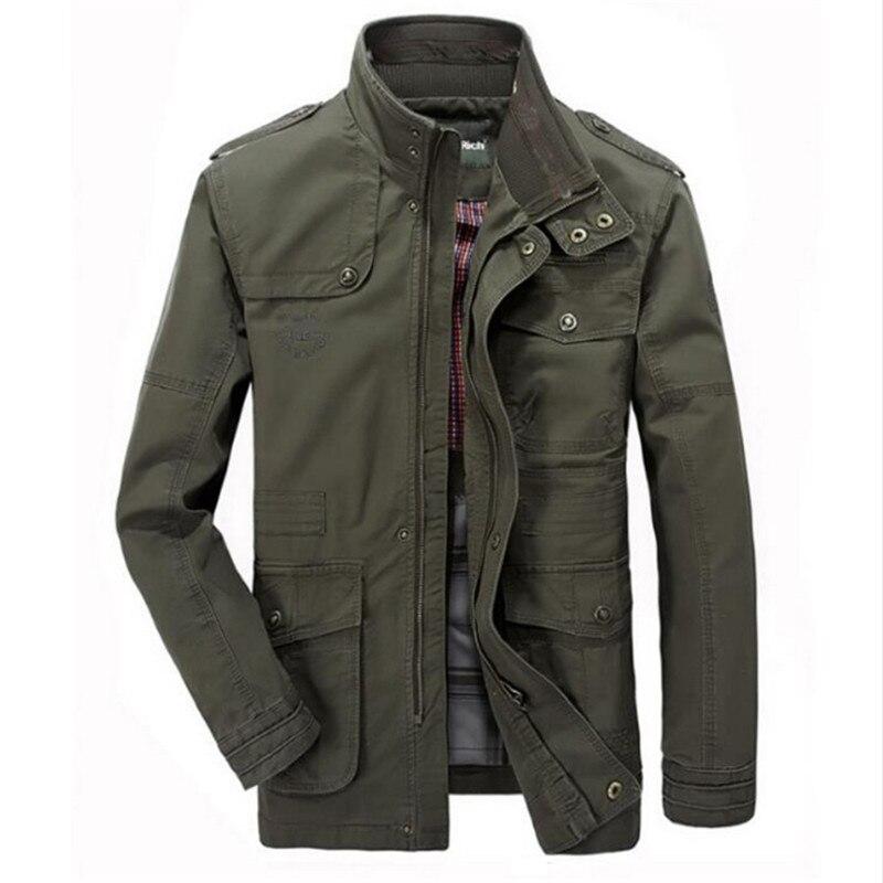 Homme militaire Outwear vol veste grande taille 7XL hommes Trench poche manteaux veste hommes casual coton coupe-vent longues vestes