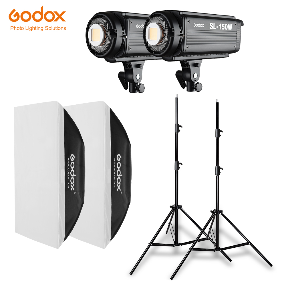 2x Godox SL 150W 150Ws 5600K Studio LED Continuous Photo Video Light 2x 2 8m Light