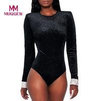 Heißes Produkt Frauen Nachtclub Diamanten Tops Sexy Bodycon Langarm Overall sexy body streetwear catsuit