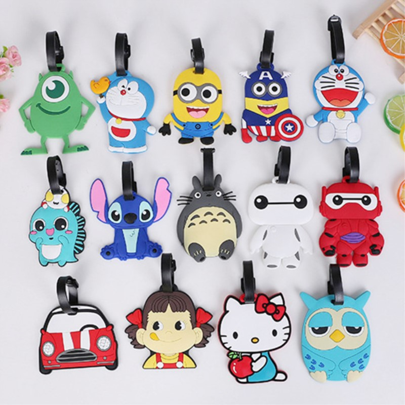 Women Men Cartoon Cute Cactus Luggage Tag Travel Accessories Cute Portable Suitcase Tag Silicon Name Labels LT22