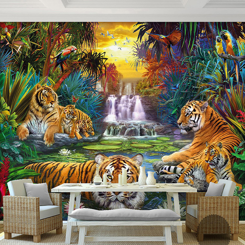 Custom Photo Wall Paper Original Forest Waterfall Tigers Animal 3D Large Mural Wallpaper For Living Room Bedroom Papel De Parede custom 3d mural wallpaper european style painting stereoscopic relief jade living room tv backdrop bedroom photo wall paper 3d