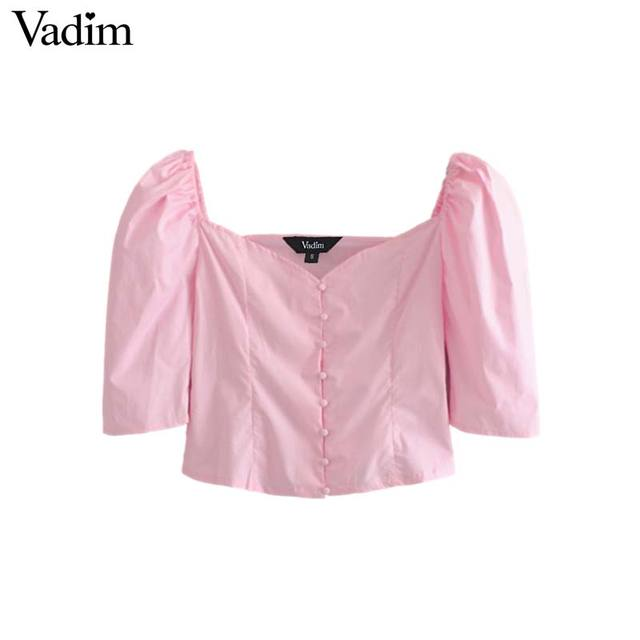 c0a2f7651e7a17 Vadim women stylish pink white crop tops V neck half sleeve pleated solid  blouses female sexy