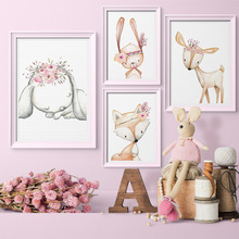 Pop Art Canvas painting Wall Pictures for Bedroom Decorative Home Decor Cute Rabbit Deer cartoon Frameless