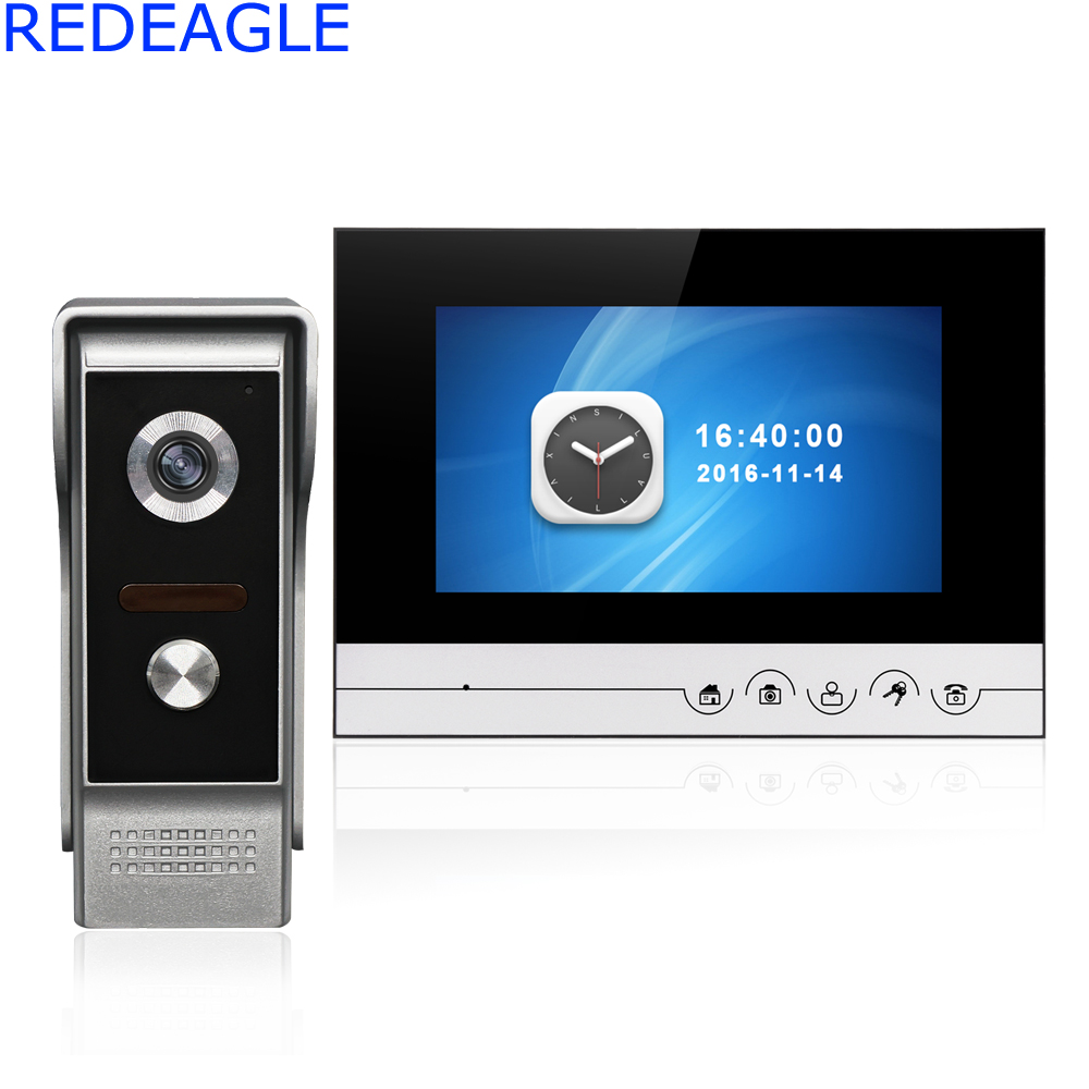 7 inch Recording Video Door Phone Doobell Intercom System with 700TVL Night Vision IR Camera Support take pictures and Record jeantone 4 inch video doorphone doorbell intercom 1 front door camera with 3 indoor monitors pictures and video recording