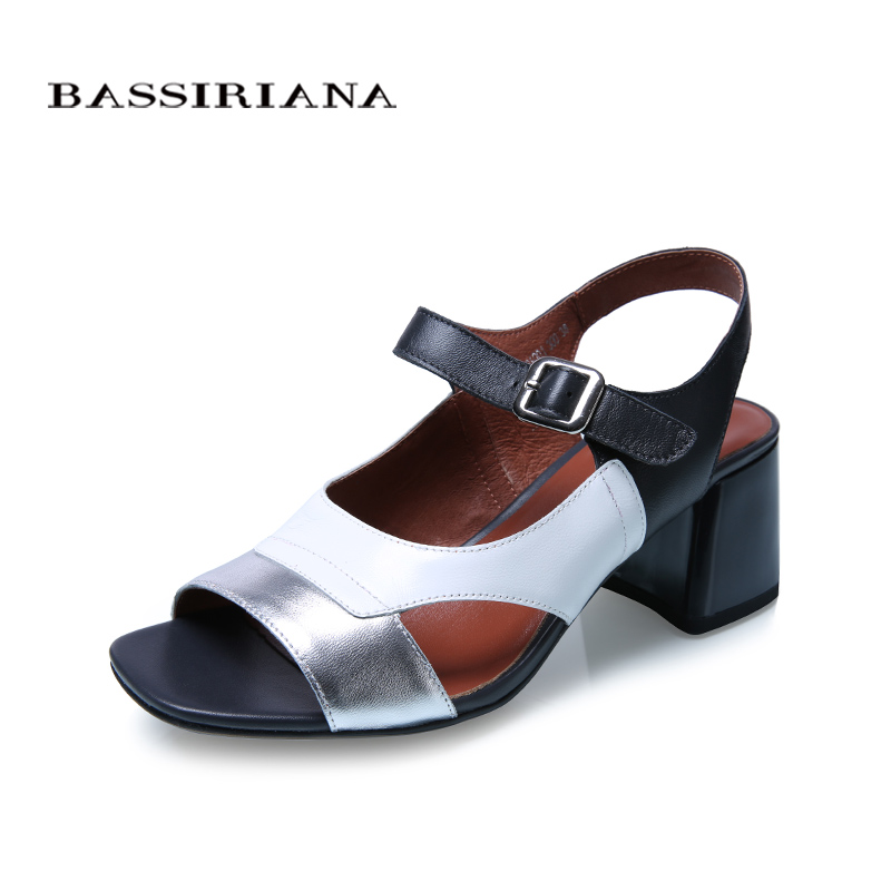 BASSIRIANA new Sandals women Summer genuine Leather sheepskin shoes woman mixed color high heels Open Toe