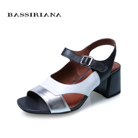 BASSIRIANA new Sandals women Summer genuine Leather sheepskin shoes woman mixed color high heels Open Toe pink silver 36 41 size