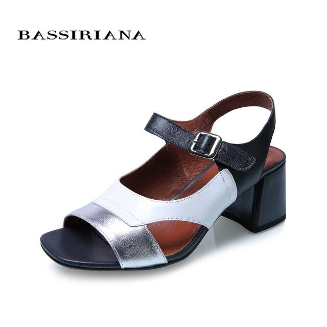 Bassiriana/Новые Сандалии для девочек Летняя женская обувь из натуральной кожи из овечьей кожи женская обувь смешанных цветов Обувь на высоком каблуке с открытым носком розовый серебряный 36-41 размер