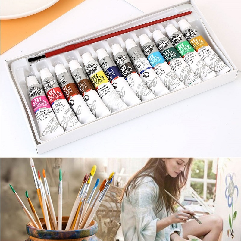 1Pc 6ml 12 Colors Oil Painting Set With 1 Brush Pen Fine Painting Art Acrylic Pigment Professional Oil Colors Paints Supplies