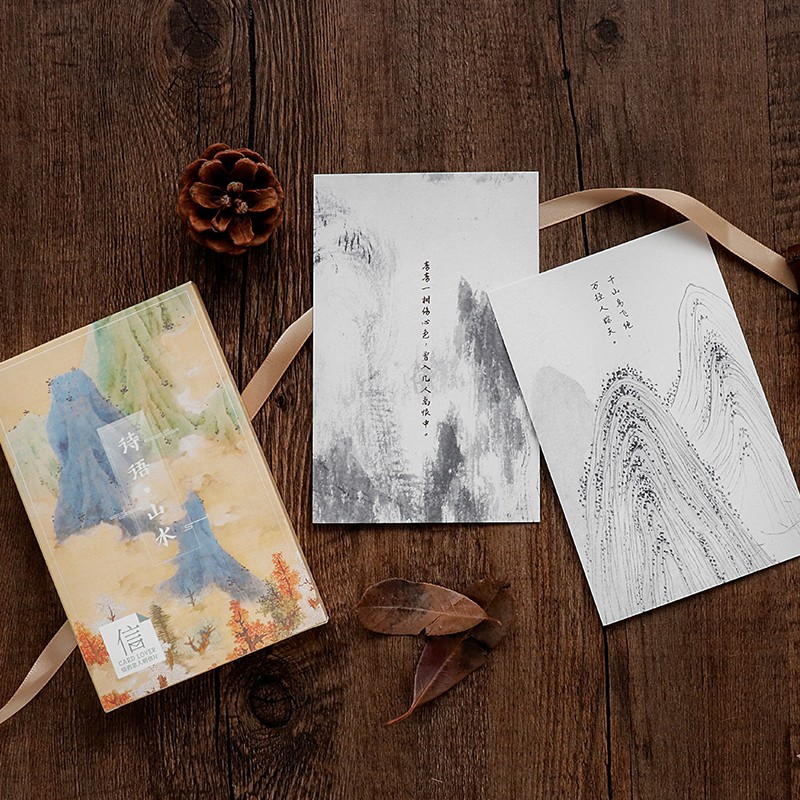 30 Pcs/lot Ink Painting Mountain Landscapes Postcard Scenery Greeting Card Christmas & Birthday Message Card Gift Cards Rich And Magnificent Home & Garden Event & Party