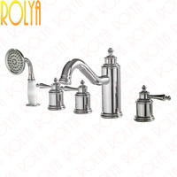 Rolya Ronda 5 Piece Bathtub Faucet Tub Filler Trim Bath Shower Mixer Taps Chrome Golden Premium