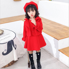 Baby girls clothing set Ins hot sales Classical style sloid color dress coat custom berets 3pcs baby winter clothes