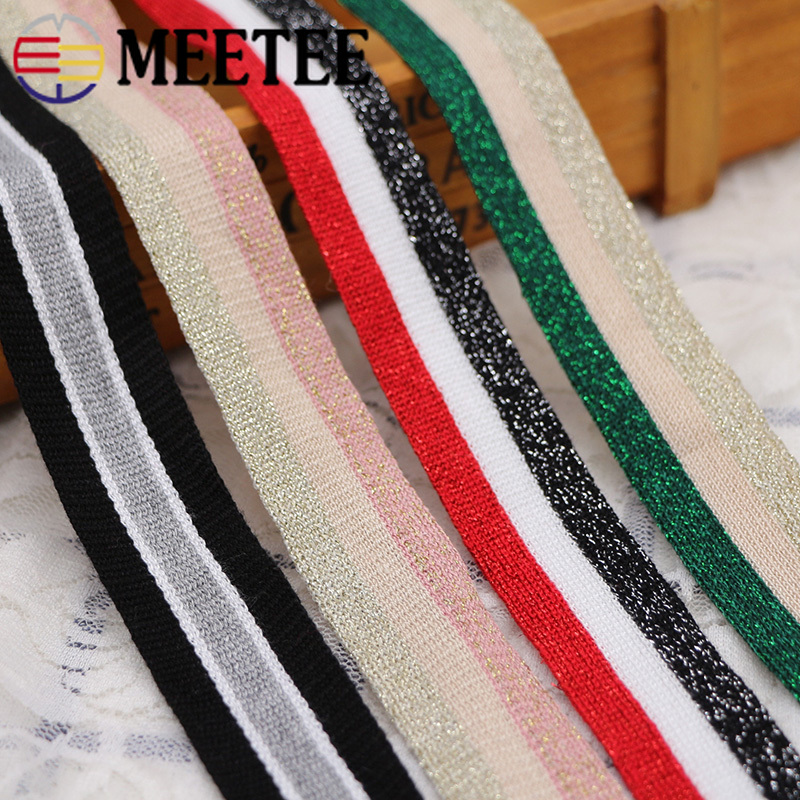 12M 25mm Gold Silver Stripe Knitted Webbings Tapes Sport Pants Trousers Side Lace Ribbons Sewing Band Trimmings DIY Accessories