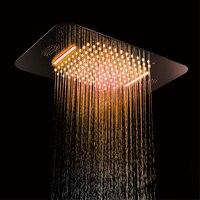 580*380 мм Насадки для душа потолочный светодиодный светильник SUS304 аксессуары для душевой и ванной Музыка FM радио Bluetooth водопад, ливень дождя
