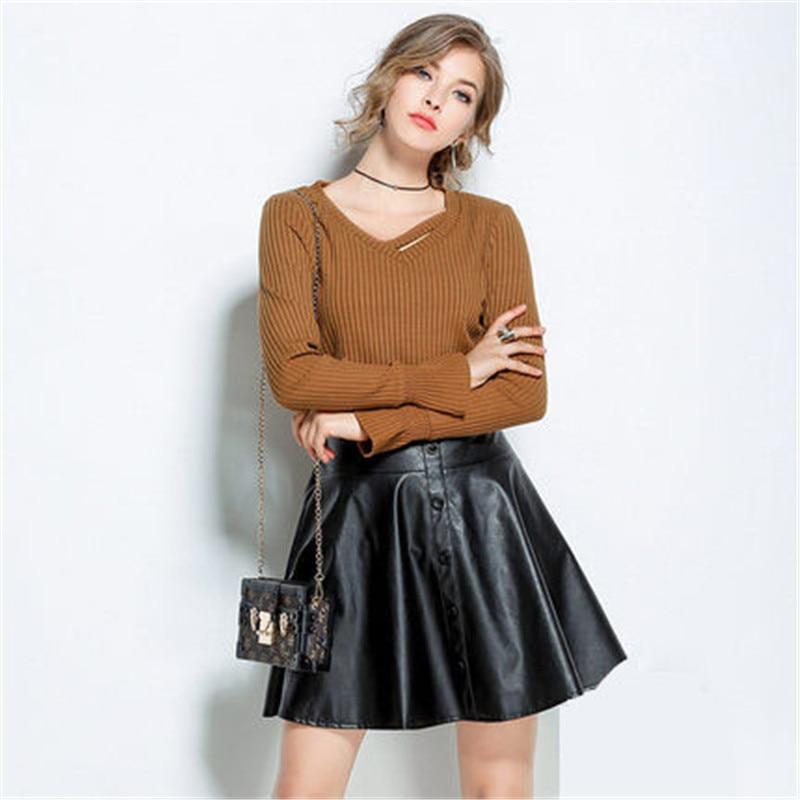 2018 mode printemps automne grande taille femmes évider tricot t-shirt col en V corne pagode manches pulls pull femme