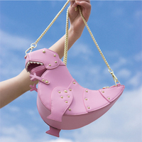 Sweet Ins Style Pink Soft Leather Women Dinosaur Shoulder Messenger Bag Handmade Rivet Chain Girl Small Bag Quality Travel Bag