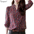 TANGNEST Women Long Sleeve Blouse 2017 Dot Totem Printed Chiffon Slim Blouses Vintage Tops Female Shirt Blusas Femininas WCL698