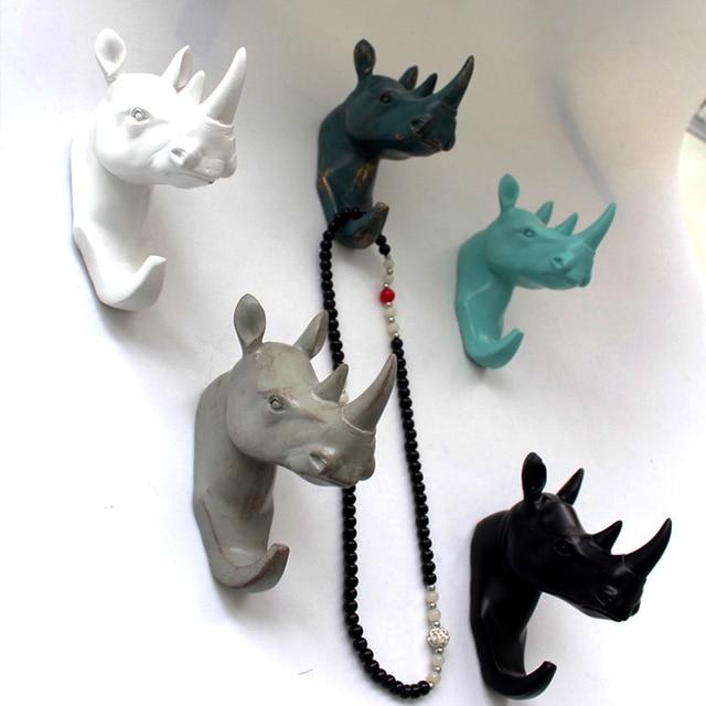Animal Style Rhino Head Resin Wall Hook Brief Modern Door Robe Coat Hat