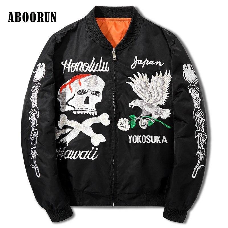 ABOORUN NEW Hip Hop Clothing Men <font><b>Black</b></font> <font><b>Bomber</b></font> Jacket Coats Kanye West Skull Embroidery Ma1 Souvenir Jacket W2053