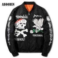ABOORUN NEW Hip Hop Clothing Men Black Bomber Jacket Coats Kanye West Skull Embroidery Ma1 Souvenir