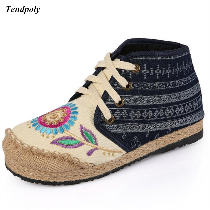 National air high hand embroidered rubber soles ladies comfort soft Women's Boots round breathable casual flat sole cloth shoes vintage embroidery women flats chinese floral canvas embroidered shoes national old beijing cloth single dance soft flats
