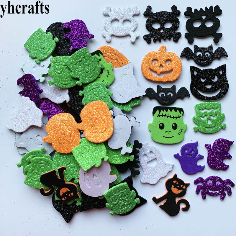1bag/Lot Glitter Halloween Pumpkin Spider Foam Stickers Ghost Crafts Activity Items Kindergarten Diy Toys Trick Or Treat DIY Toy